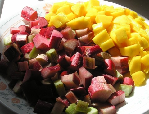 fresh mango and rhubarb, cut