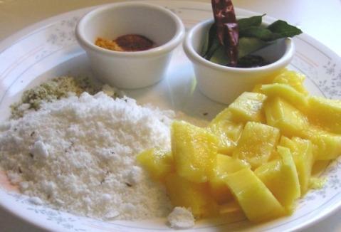 semi-ripe mango, coconut, green chile, spices