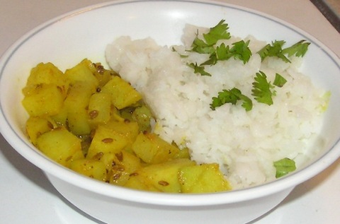 potato with chayote and rice