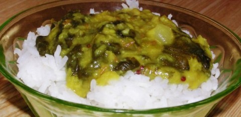 Slow-Cooked Moong Dal with Spinach