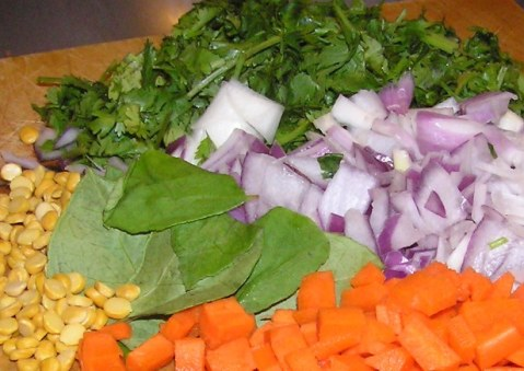 Ingredients for Cilantro Poha with Chana Dal