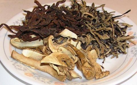 Dried Cloud Ears, Matsutake Mushrooms, and Tiger Lily Buds