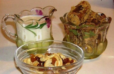 Fresh Milk, Jaggery, Cashews and Golden Raisins