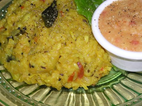 "drumstick ""risotto"" with moong dal"
