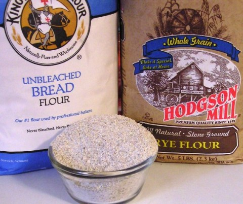 bread flour and whole-grain rye flour