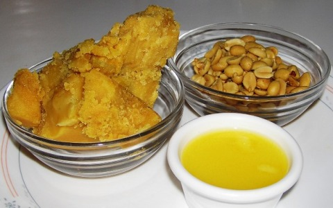 jaggery, roasted peanuts, and ghee