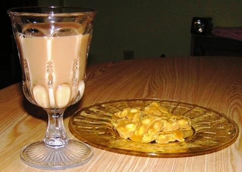 jaggery and peanut praline pieces with Asha's Masala Chai , yum!