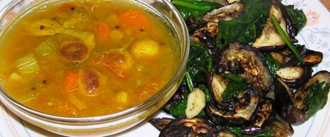 carrot and celery sambhar with brinjal-spinach fry