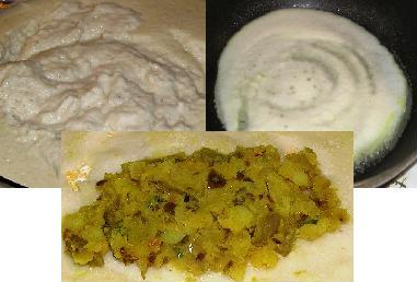 dosa batter, dosa cooking, potato filling