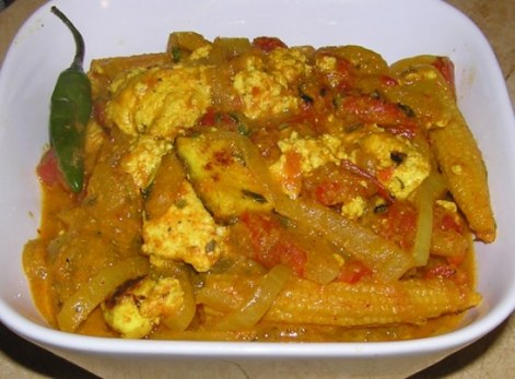 paneer with peppers and onions