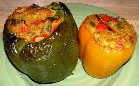 veggie-brown rice stuffedpeppers