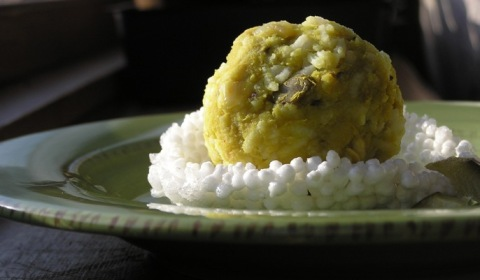 rice and dal with pickled green mango ~ ammamudda