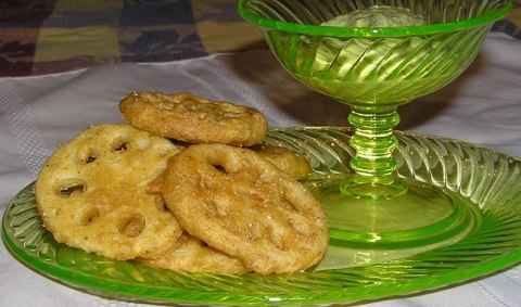lotus root pakoras on Imperial glass