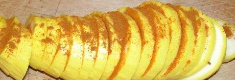 yellow squash with ISG's sambharpowder