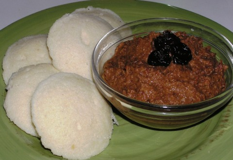 sourdough idlis with cherry-peanut chutney