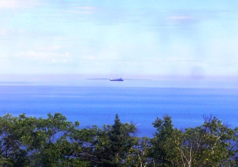 ore carrier upbound on lake superior