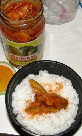 mango pickle and plain rice for workday lunch