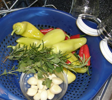 banana and serrano peppers, garlic, fresh rosemary