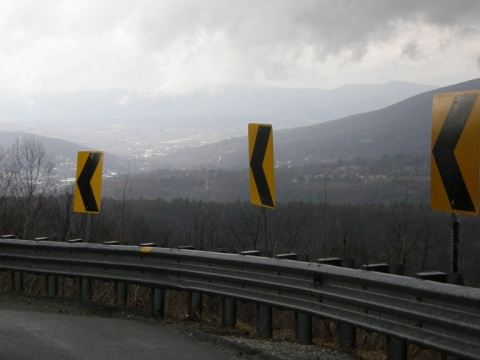 view from siding at hairpin turn