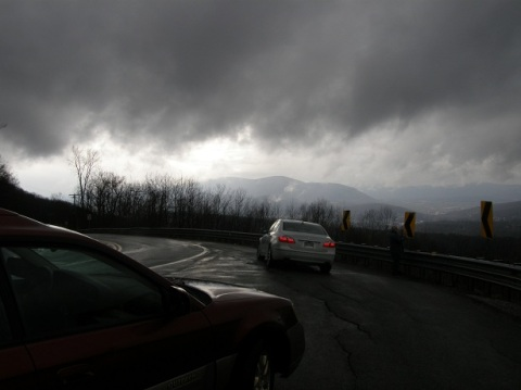 in the clouds at the hairpin turn