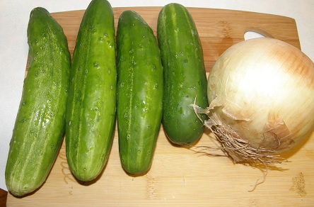 cucumbers and sweet onion