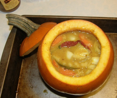 sambhar ~ ready to bake in a pumpkin