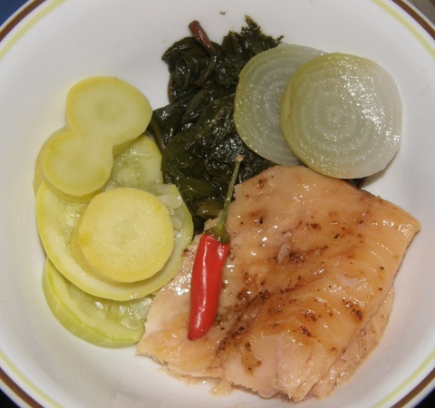 lightly smoked lake trout with baby white beets 'n greens, fresh summer squash