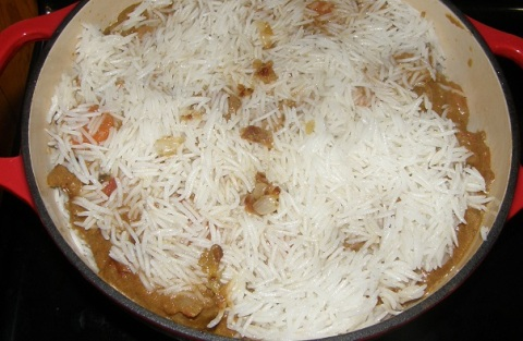 the rice is added