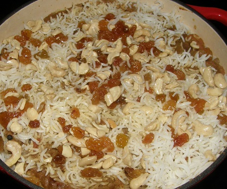 garnished with golden sultanas and cashews